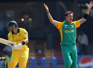 Dale Steyn removes Shane Watson early, Australia v South Africa, World Cup warm-up match, Bangalore, February 15, 2011