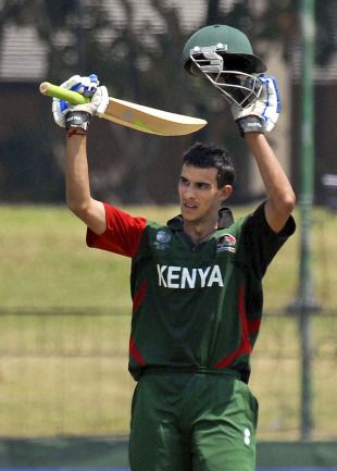Kenya's Seren Waters celebrates his century against Netherlands, Kenya v Netherlands World Cup warm-up match, Sinhalese Sports Club, Colombo, February 15, 2011