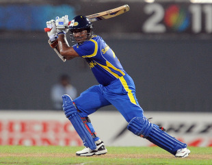 Kumar Sangakkara plays one to the off side during his 71, Sri Lanka v West Indies, World Cup warm-up match, Colombo, February 15, 2011