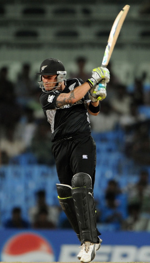 Brendon McCullum scored a quick half-century, India v New Zealand, World Cup 2011 warm-up, Chennai, February 16, 2011