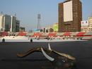 The Bangabandhu National Stadium prepares for Thursday's opening ceremony, Dhaka, February 16, 2011