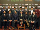 The captains of the participating nations pose with the World Cup trophy, Dhaka, February 17, 2011