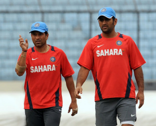 Sachin Tendulkar and MS Dhoni have a word on the eve of the opening  game of the World Cup, Shere Bangla Stadium, Mirpur, February 18, 2011