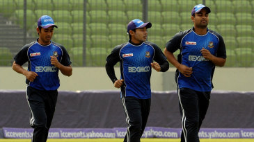 Mohammad Ashraful, Mushfiqur Rahim and Tamim Iqbal at a training session on the eve of the World Cup