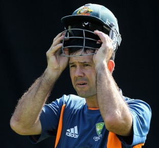 Ricky Ponting puts on his helmet during a net session, Ahmedabad, World Cup 2011, February 19, 2011