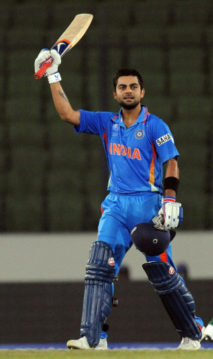 Virat Kohli celebrates after getting to a century, Bangladesh v India, Group B, World Cup 2011, Mirpur, February 19, 2011