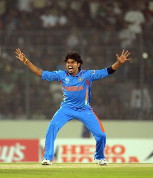 S Sreesanth unsuccessfully appeals for an LBW, Bangladesh v India, Group B, World Cup 2011, Mirpur, February 19, 2011