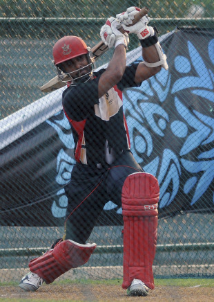 Canada captain Ashish Bagai practices his big hitting ahead of Canada's opening game against Sri Lanka, Hambantota, February 19, 2011