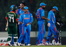 India's players shake hands with the Bangladesh batsmen after their 87-run victory, Bangladesh v India, Group B, World Cup 2011, Mirpur, February 19, 2011
