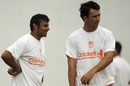 Adeel Raja and Tom Cooper at a net session in Nagpur, World Cup 2011, February 20, 2011