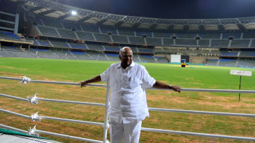 Sharad Pawar poses at the Wankhede Stadium