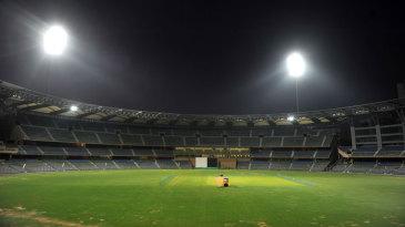 The Wankhede Stadium under lights