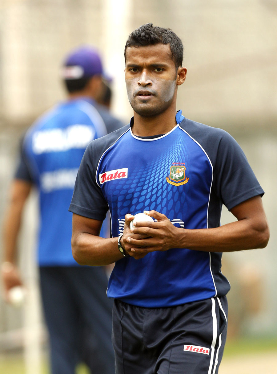 Nazmul Hossain gets ready to bowl in the nets