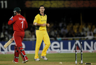 Shaun Tait knocks out Brendan Taylor's middle stump, Australia v Zimbabwe, Group A, World Cup 2011, Ahmedabad, February 21, 2011