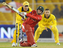 Sean Williams plays a slog-sweep, Australia v Zimbabwe, Group A, World Cup 2011, Ahmedabad, February 21, 2011