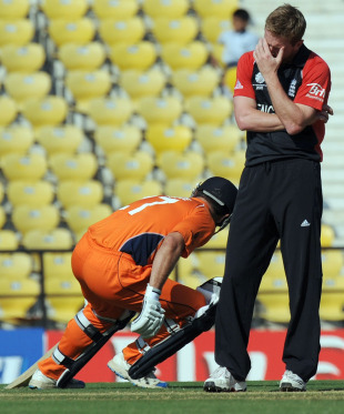 Paul Collingwood looks aghast as the Dutch score mounts, England v Netherlands, Group B, World Cup, Nagpur, February 22, 2011