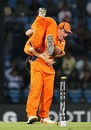 Peter Borren celebrates with Pieter Seelaar after Kevin Pietersen's wicket