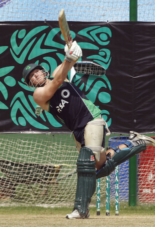 Ireland's Gary Wilson bats in the nets, Dhaka, February 24, 2011