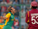 Imran Tahir's joy at removing Ramnaresh Sarwan was clear