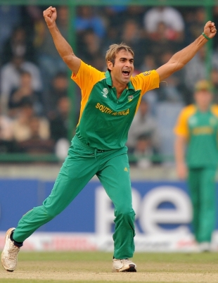 Imran Tahir celebrates the fall of a West Indian wicket, South Africa v West Indies, World Cup, Group B, Delhi, February 24, 2011