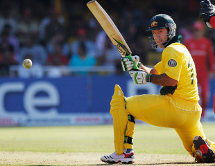 Ricky Ponting bats against Zimbabwe during Australia's opening World Cup match, Ahmedabad, February 21, 2011