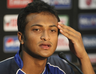 Shakib Al Hasan addresses the media on the eve of Bangladesh's match against Ireland, Dhaka, February 24, 2011