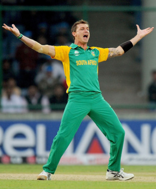 Dale Steyn celebrates knocking over Kieron Pollard for a golden duck, South Africa v West Indies, World Cup, Group B, Delhi, February 24, 2011