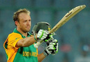 AB de Villiers celebrates after completing his century, South Africa v West Indies, World Cup, Group B, Delhi, February 24, 2011