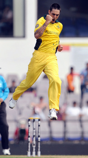 Mitchell Johnson goes airborne in celebration, Australia v New Zealand, World Cup, Group A, Nagpur, February 25, 2011