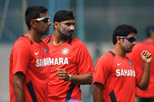 R Ashwin, Harbhajan Singh and Piyush Chawla prepare to bowl at the nets, Bangalore, February 25, 2011