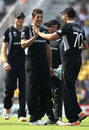 New Zealand celebrate the dismissal of Brad Haddin, Australia v New Zealand, Group A, Nagpur, February 25, 2011