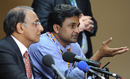Haroon Lorgat and Javagal Srinath speak at a press conference, Bangalore, February 26, 2011