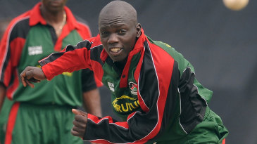 Kenya's Shem Ngoche bowls during a training session at the P Sara Oval