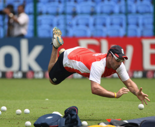 Michael Yardy fields during England's training session, Bangalore, February 26, 2011