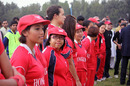 Betty Chan and the rest of the Hong Kong team line up for the awards ceremony following the final of the ACC Women's Twenty20 Championships in Kuwait on 25th February 2011