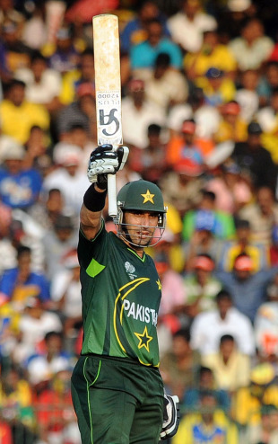 Misbah-ul-Haq celebrates after reaching his half-century, Sri Lanka v Pakistan, World Cup, Group A, Colombo, February 26, 2011
