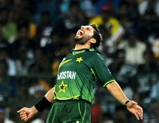 Shahid Afridi roars in celebration, Sri Lanka v Pakistan, World Cup, Group A, Colombo, February 26, 2011