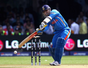 Virender Sehwag began the innings with a few streaky shots, India v England, World Cup, Group B, Bangalore, February 27, 2011