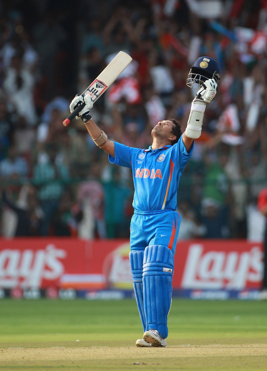 Sachin Tendulkar celebrates his 47th ODI century