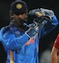 MS Dhoni calls for a referral when Ian Bell was struck on the pads by Yuvraj Singh
