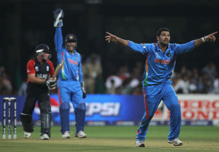 Yuvraj Singh was convinced he had Ian Bell lbw, India v England, World Cup, Group B, Bangalore, February 27, 2011