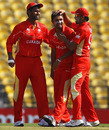 Harvir Baidwan is congratulated by his team-mates after dismissing Charles Coventry , Canada v Zimbabwe, World Cup, Group A, Nagpur, February 28, 2011