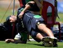 Ireland's Nigel Jones works out during a practice session, Bangalore, February 28, 2011