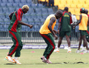 Elijah Otieno and David Obuya warm up during Kenya's training session, Colombo, February 28, 2011