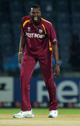 Sulieman Benn is pumped after dismissing Ryan ten Doeschate, Netherlands v West Indies, Group B, World Cup 2011, Delhi, February 28, 2011