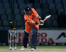 Bas Zuiderent is bowled by Kemar Roach, Netherlands v West Indies, Group B, World Cup 2011, Delhi, February 28, 2011