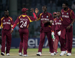 Kemar Roach celebrates his six-wicket haul, Netherlands v West Indies, Group B, World Cup 2011, Delhi, February 28, 2011