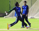 Rubel Hossain bowls in the nets as Shafiul Islam waits his turn