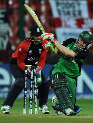 Niall O'Brien took on the slog sweep and was bowled for 29, England v Ireland, World Cup 2011, Bangalore, March 2, 2011