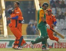 Bernard Loots celebrates Graeme Smith's wicket, Netherlands v South Africa, World Cup 2011, Mohali, March 3, 2011